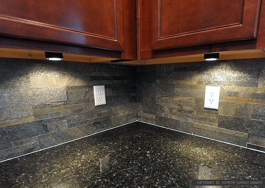 Black countertop slate brick backsplash tile from ... on Backsplash Ideas With Black Countertops  id=87771