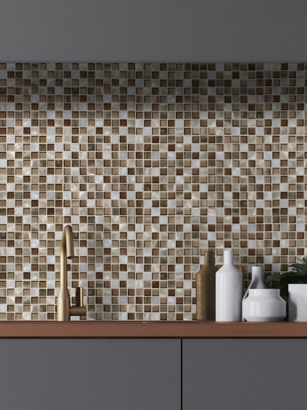 BA1123-brown metal glass modern kitchen backsplash tile