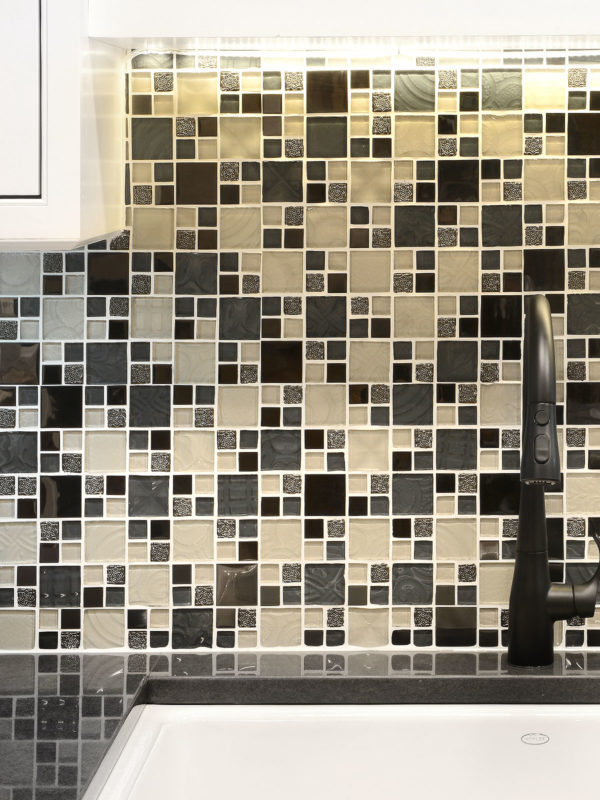 Beige Blue Black Glass Metal Kitchen Backsplash Tile BA1108