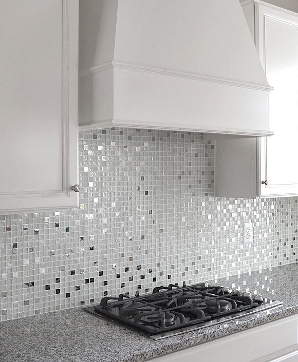 White Kitchen With Dark Backsplash: MODERN White Glass Metal Kitchen Backsplash Tile