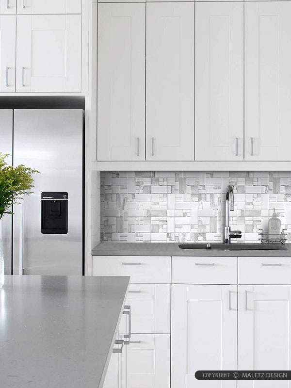 White Glass Metal Modern Backsplash Tile For Contemporary To Modern Projects