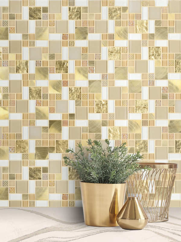 Glass Metal Gold Color Backsplash Tile from Backsplash.com BA1139