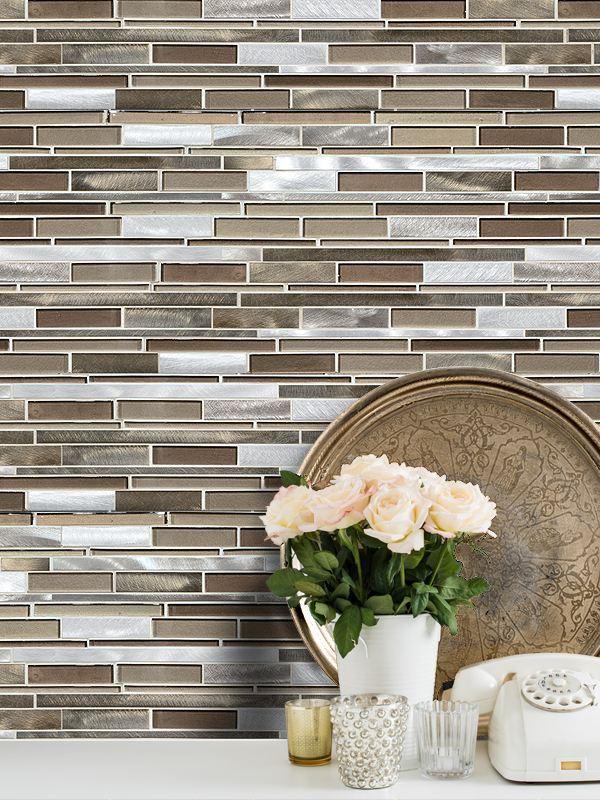 Brown Metal Glass Mixed Mosaic Kitchen Backsplash Tile BA1124 from backspash.com