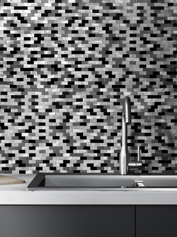 3D Gray Black Metal Backsplash Tile #metaltile #metalbacksplash #blackgraytile #metalbacksplashideas #metalmosaictiles