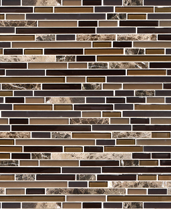 Brown Glass And Marble Stone Mix Backsplash Tile