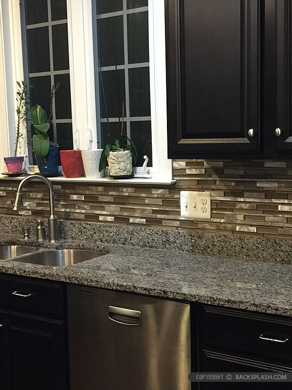 Brown Cabinet Glass Metal Kitchen Backsplash Gray Countertop