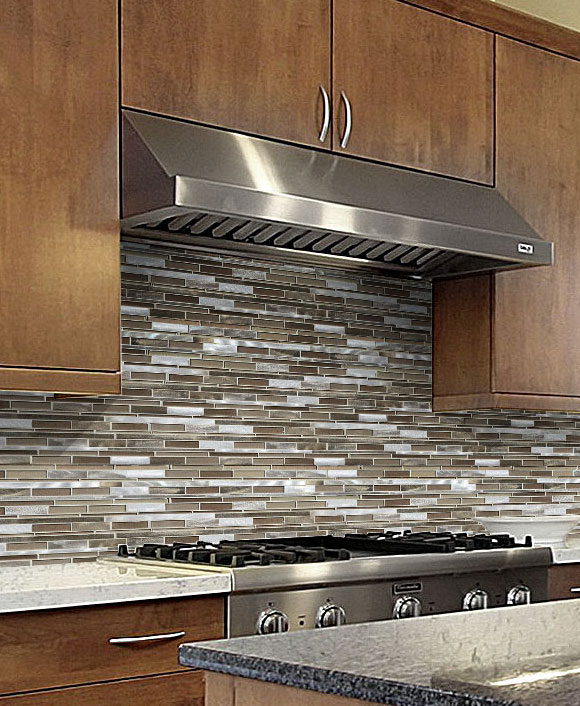 mirror tile backsplash kitchen brown metal glass mixed mosaic kitchen backsplash tile 6172