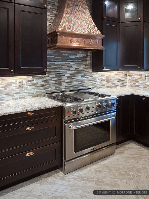 Brown Cabinet Metal Glass Backsplash Tile Granite Countertop