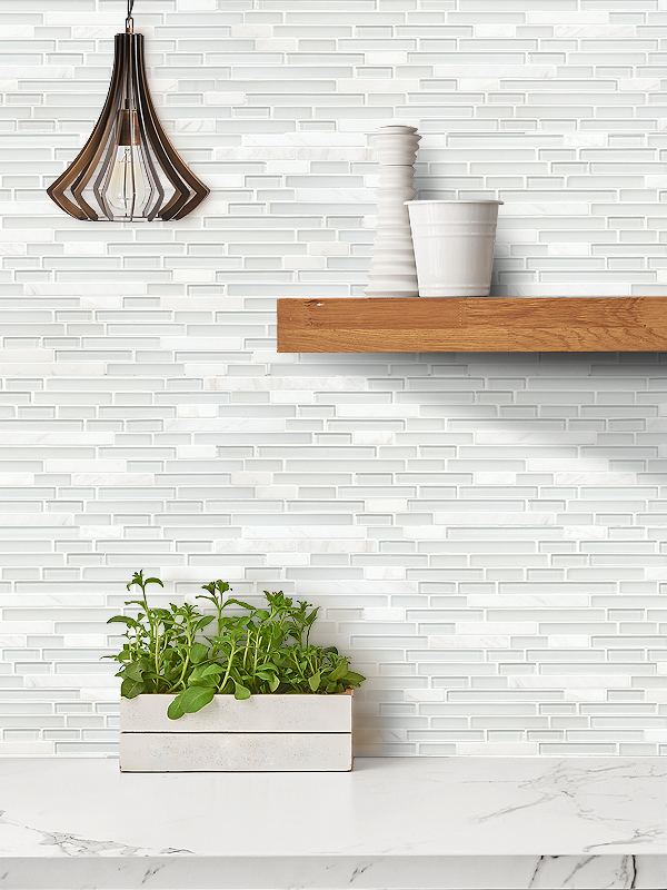 Elegant white marble glass kitchen backsplash tile BA1012 from Backsplash.com