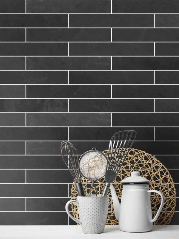 Black slate kitchen backsplash tile from Backsplash.com Item Number BA1045 - MD1045