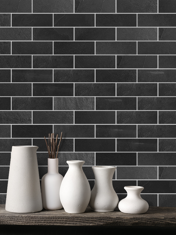 Black slate backsplash tile from Backsplash.com