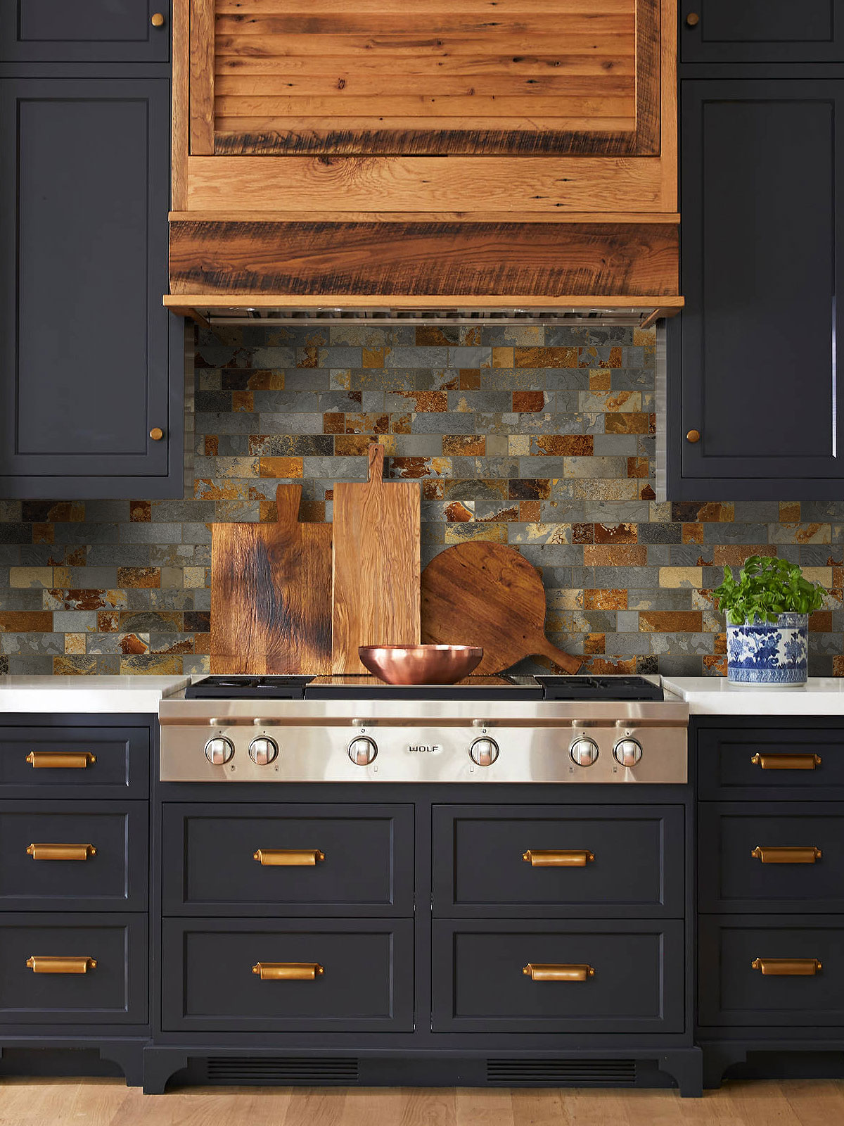 Blue cabinets slate backsplash tile