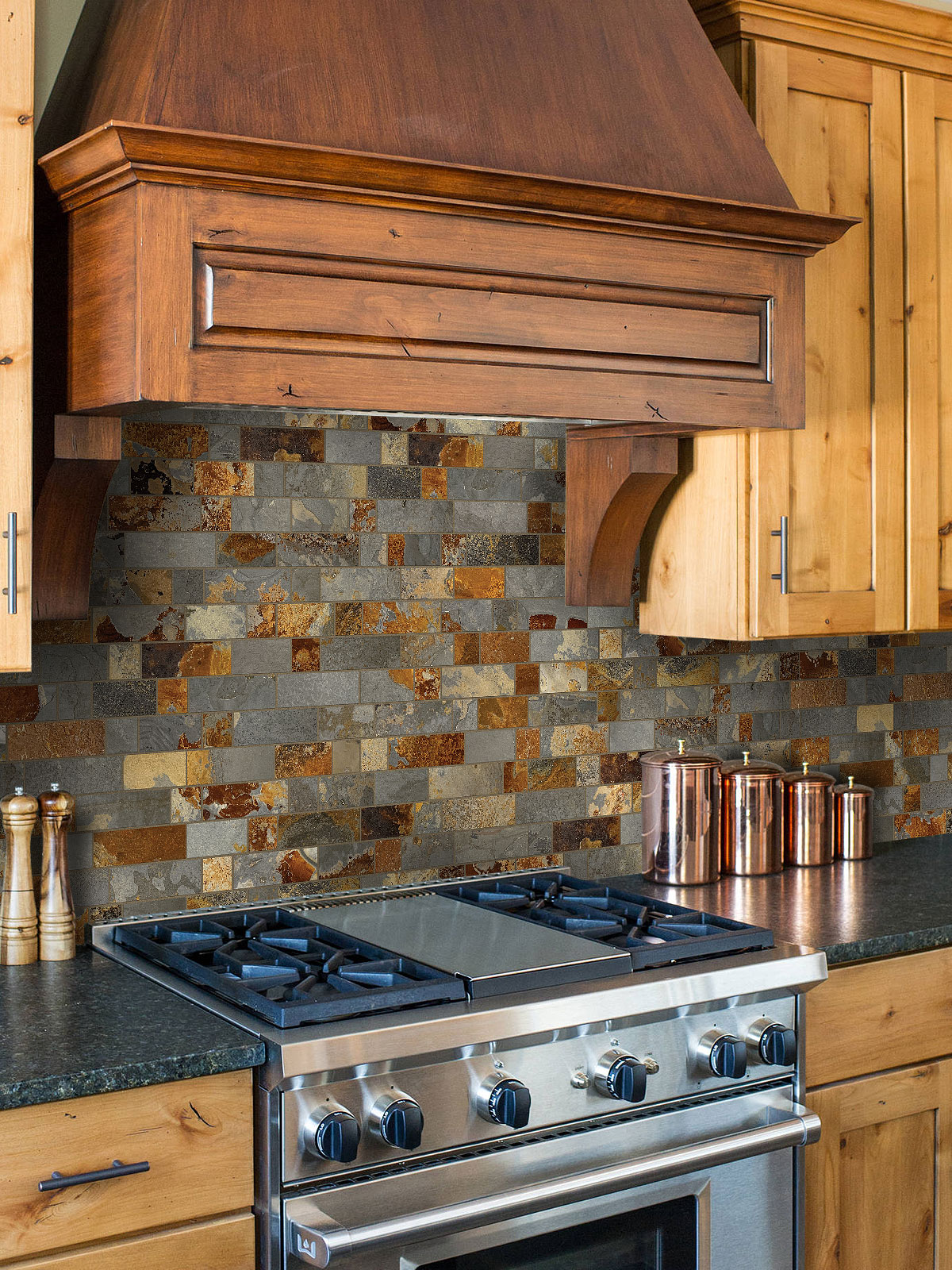 Brown cabinet ubatuba granite slate backsplash tile BA1063