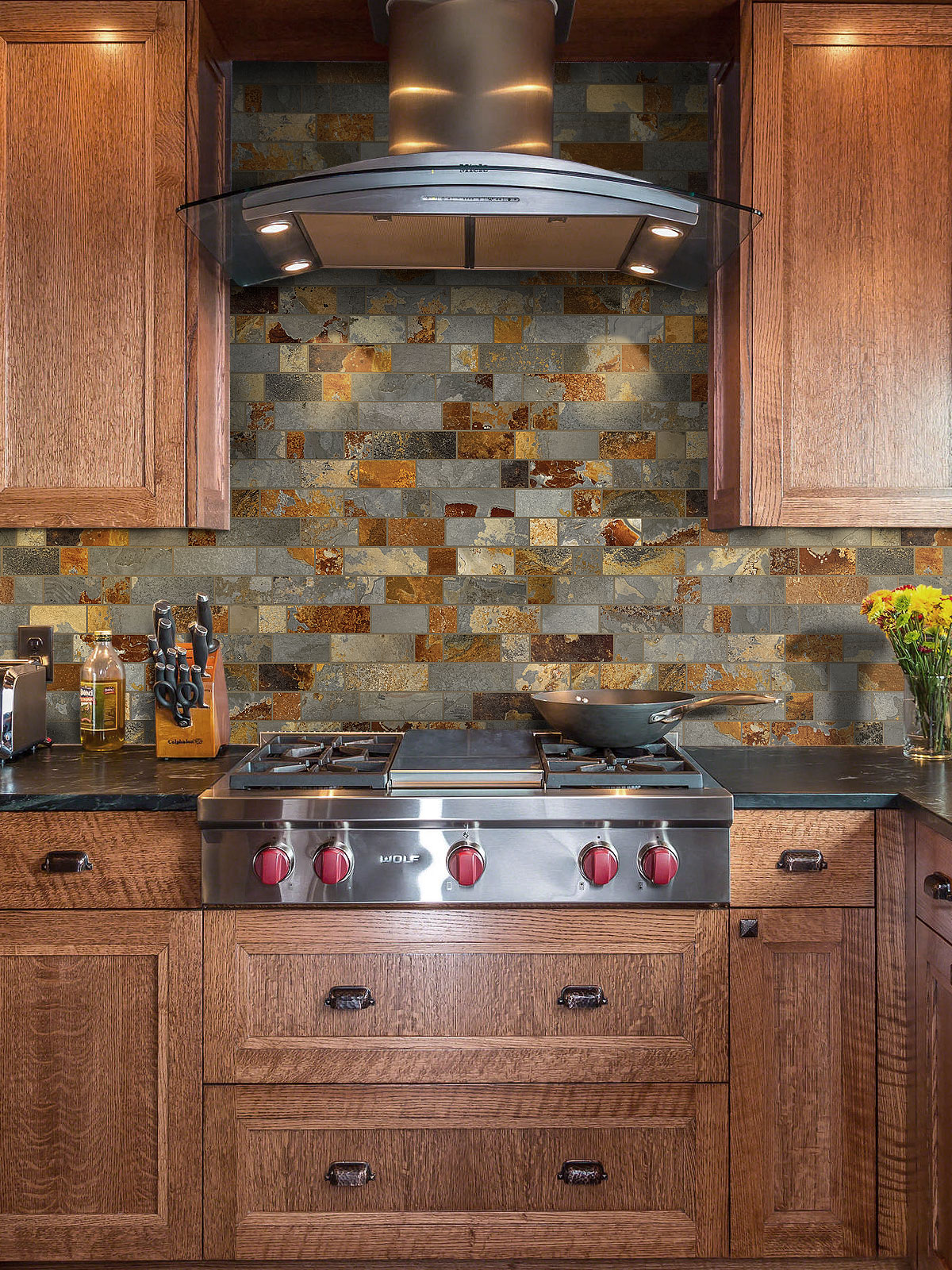tile backsplash for kitchens rusty brown slate mosaic backsplash tile for traditional kitchen 7319