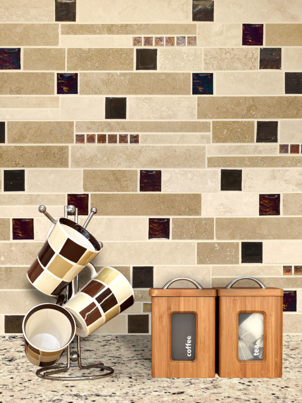 Brown glass travertine mix backsplash tile from Backsplash.com