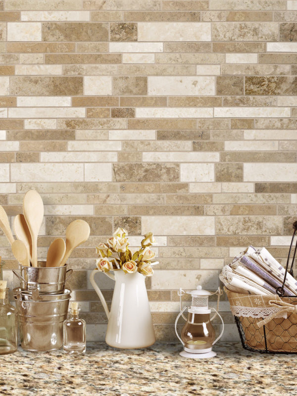 Brown travertine mix kitchen backsplash tile BA1024 from backsplash.com