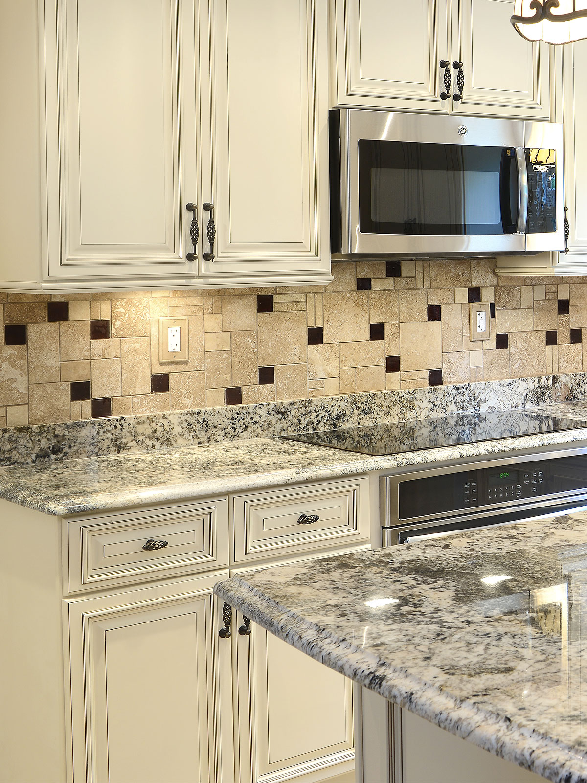 - Travertine Tile Dark Brown Glass Backsplash Tile Ideas