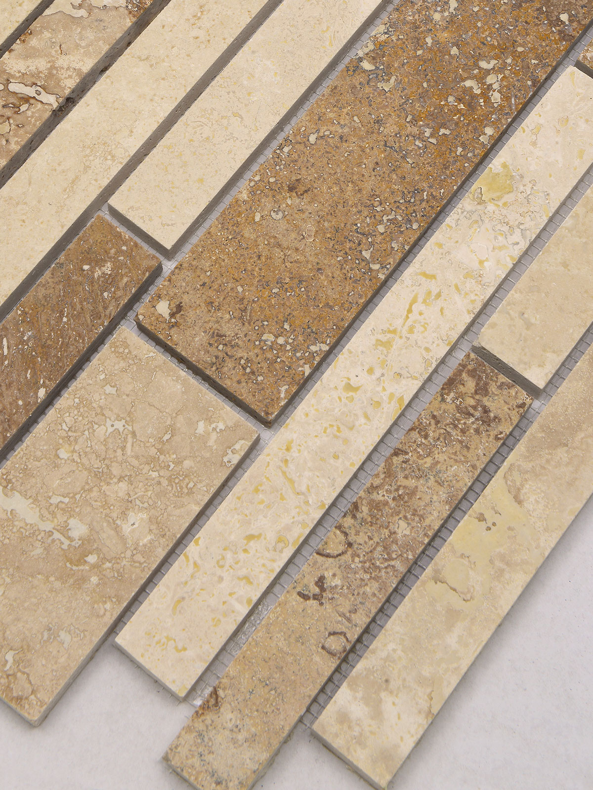 Brown beige travertine subway mosaic backsplash tile BA1024