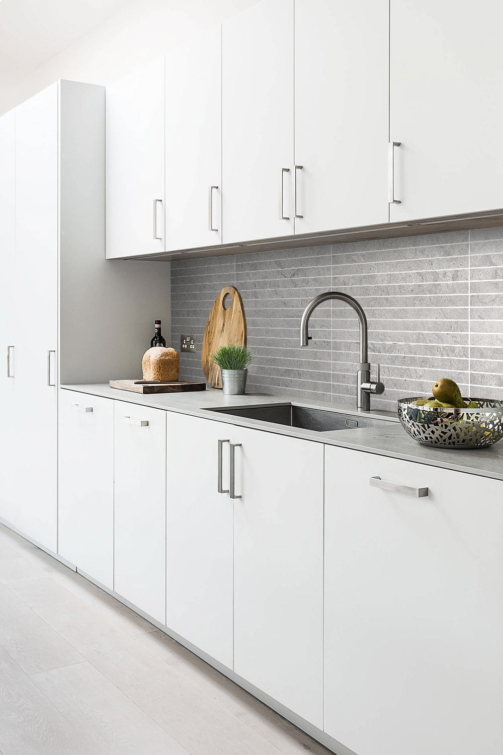Contemporary Kitchen White Cabinets Gray Backsplash Tile