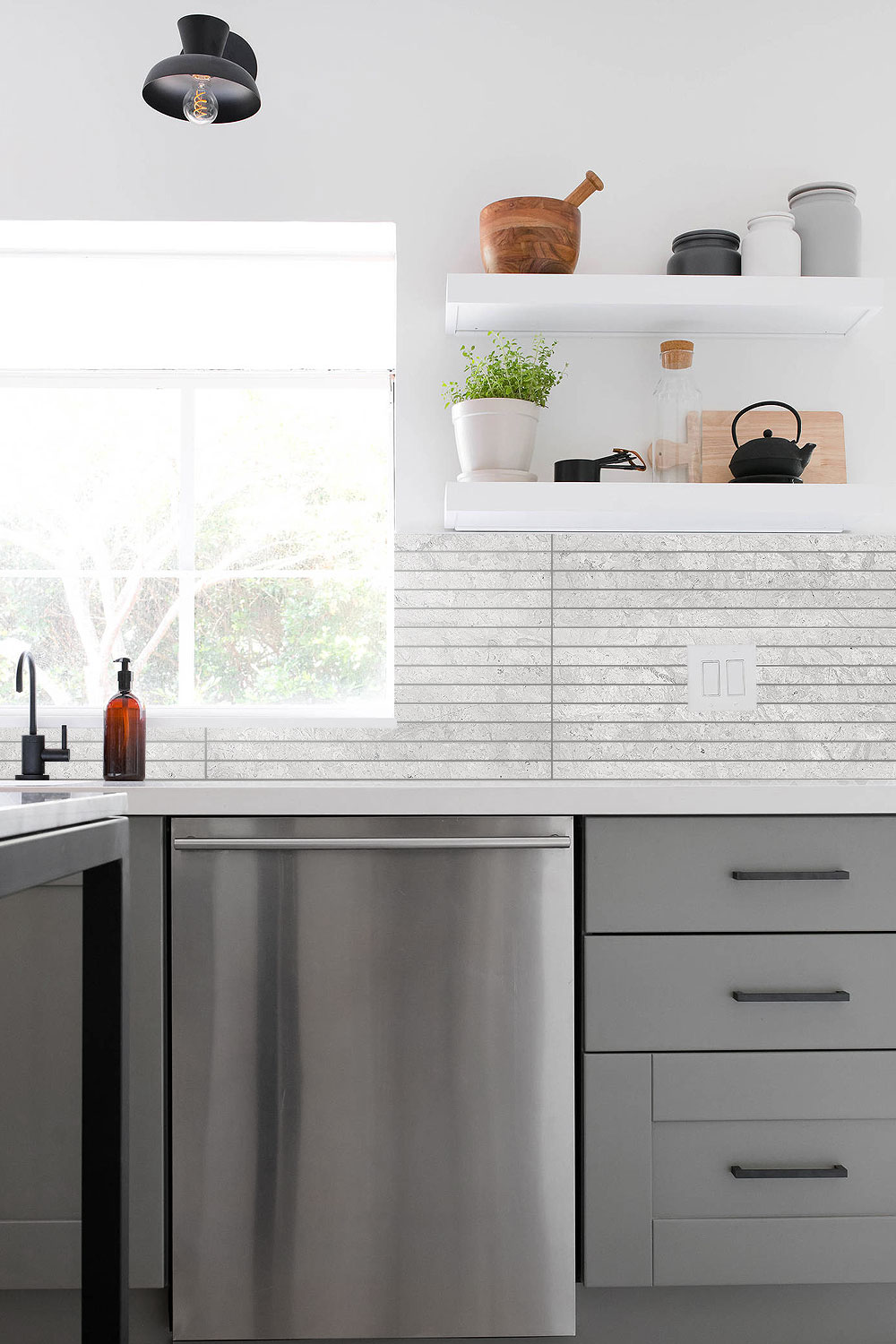 Elegant Gray And White Kitchen With Backsplash Tile