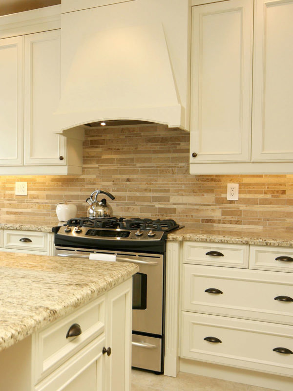 Giallo ornamental travertine backsplash beige kitchen cabinet BA1024