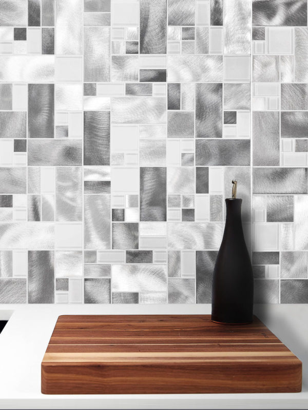 Modern Glass Metal Gray Backsplash tile BA1118