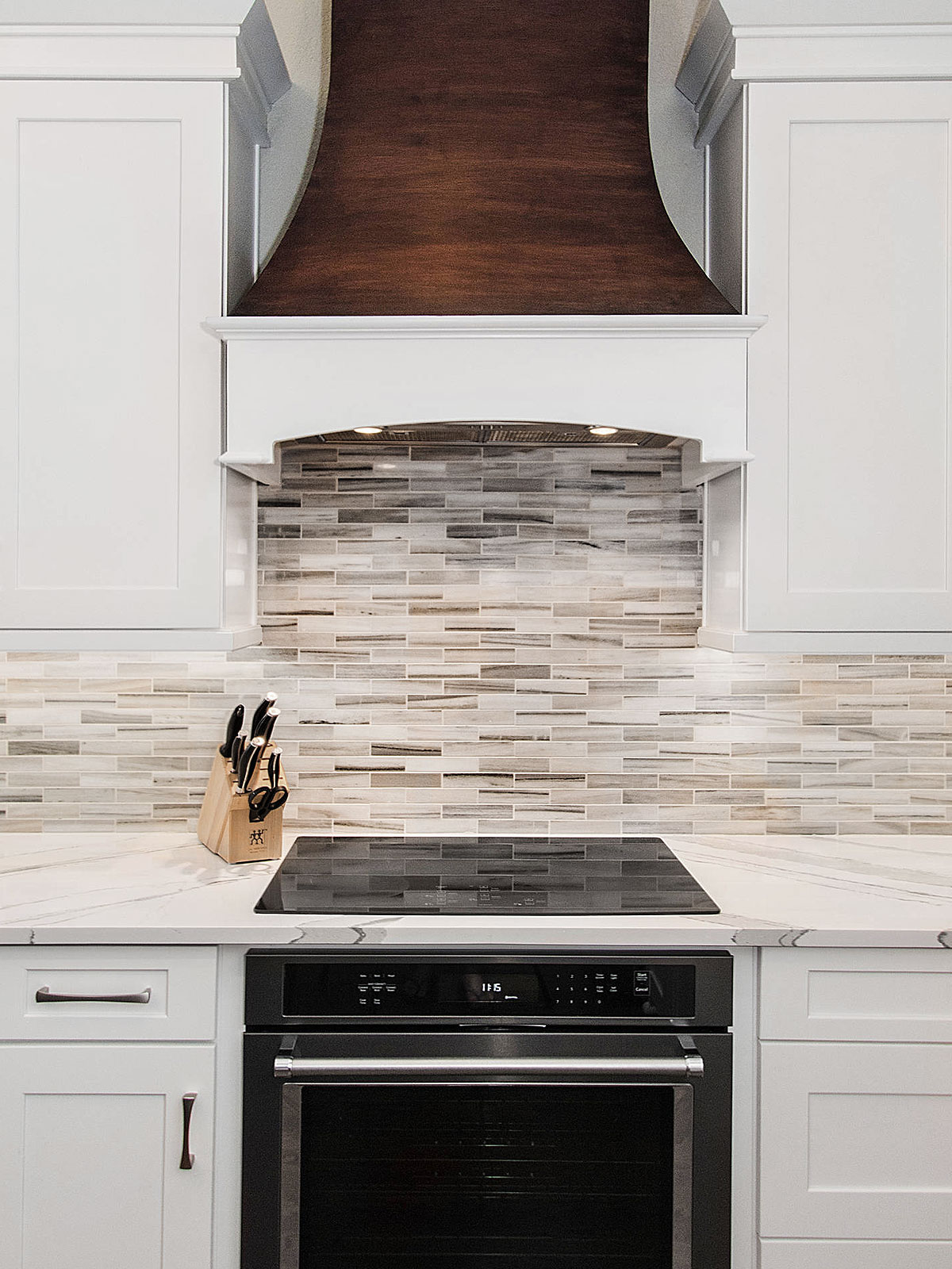 Modern white cabinet sink quartz countertop bronze hood subway marble backsplash tile BA1034