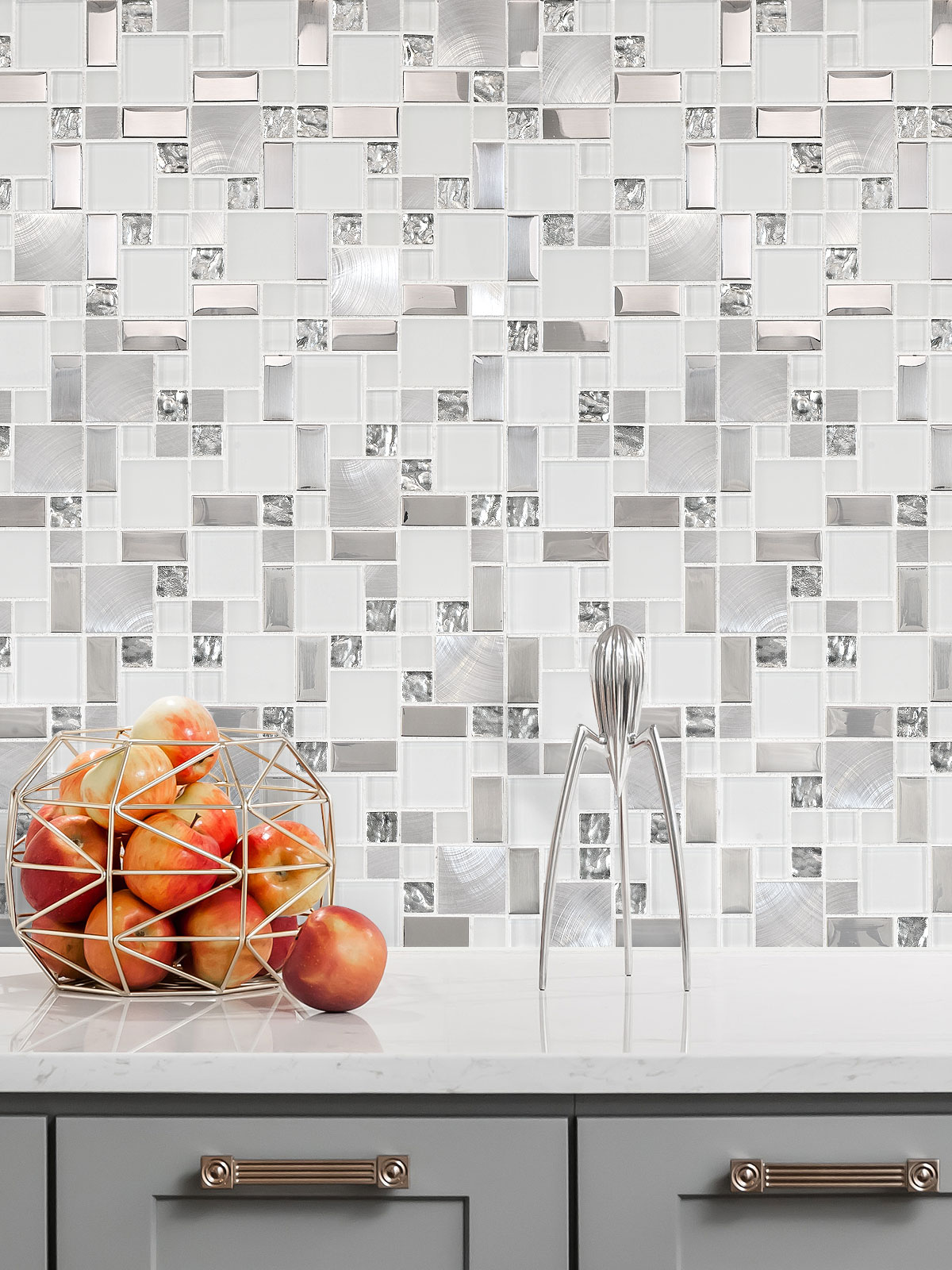 White Glass Metal Kitchen Backsplash Tile BA1138