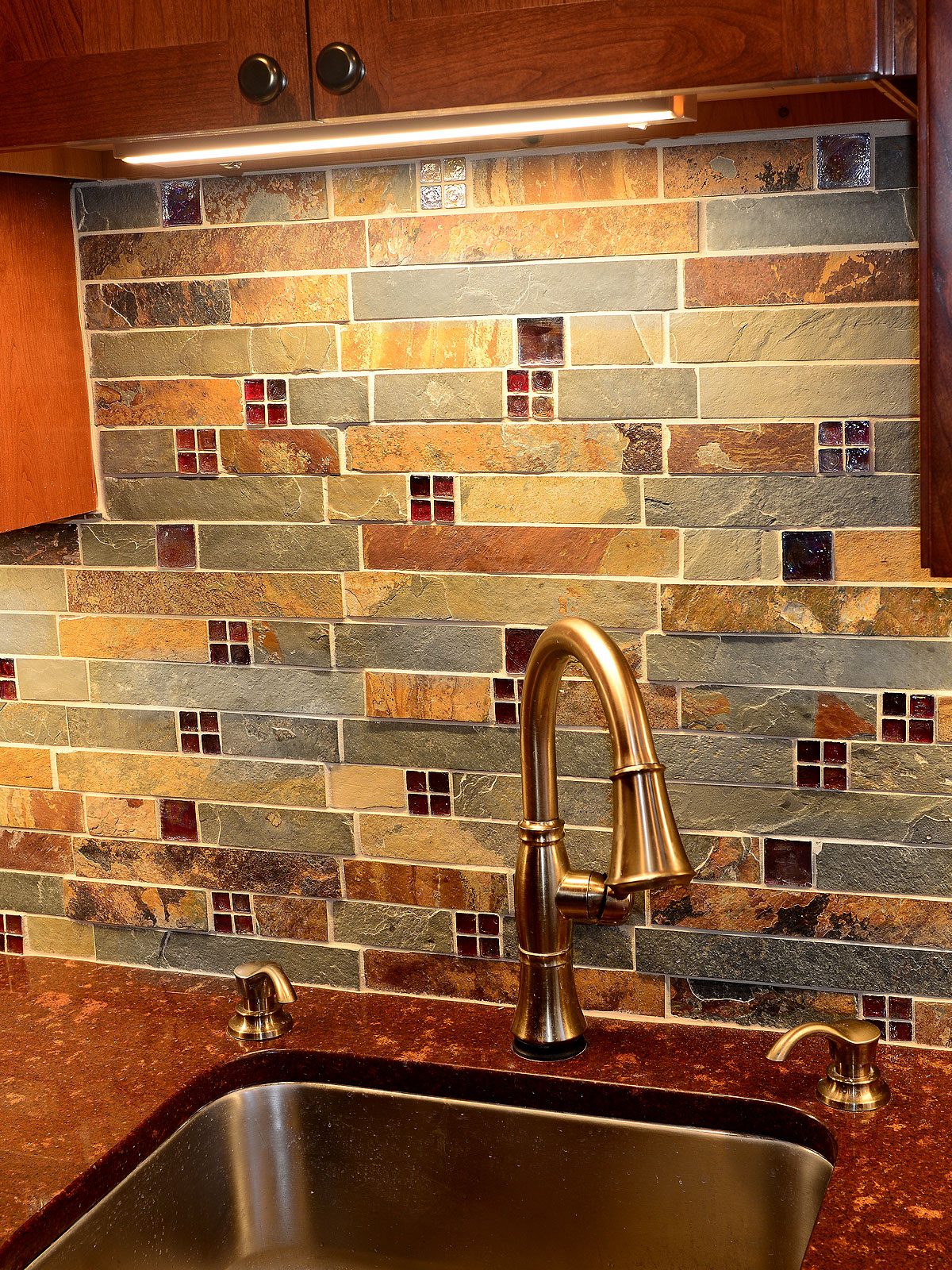 - Subway Slate Glass Mosaic Kitchen Backsplash Tile