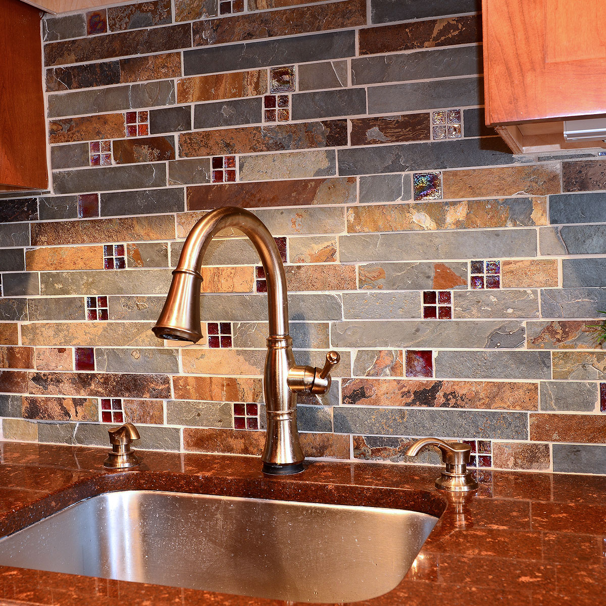 Slate and Burgundy Glass Backsplash Tile Red Brown Quartz Countertop BA1026