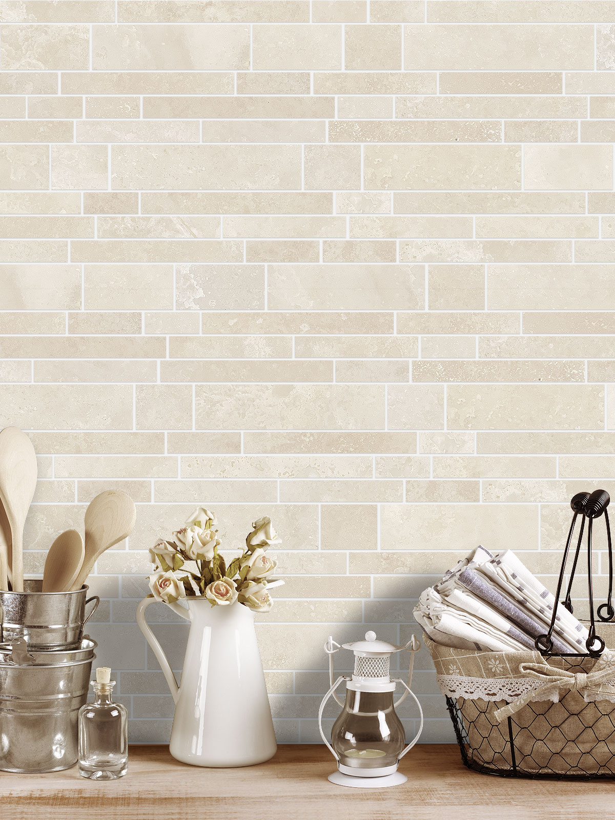 BA1092 Light ivory travertine kitchen backsplash tile from backsplash.com