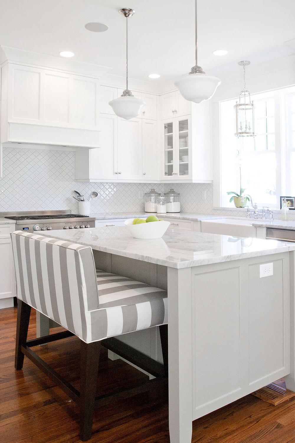 White Kitchen Glossy Elegant Porcalein Kitchens Backsplash Tile