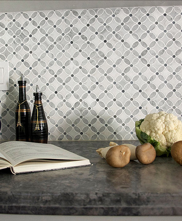 White Gray Marble Flower Mosaic Tile | Backsplash.com