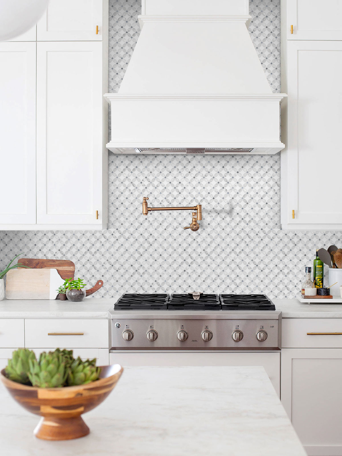white kitchen cabinet flower marble mosaic tile BA45056