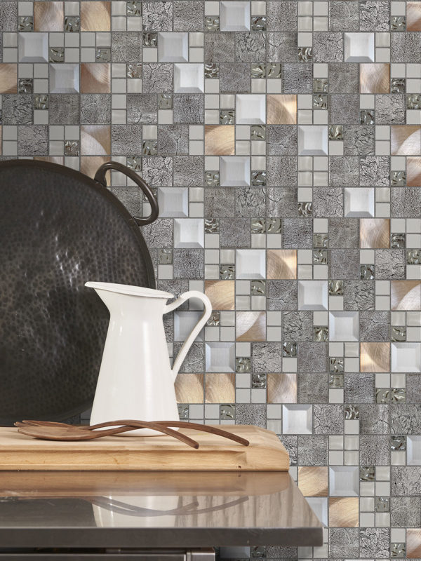 BA62010 Copper gray Metal glass backsplash tile