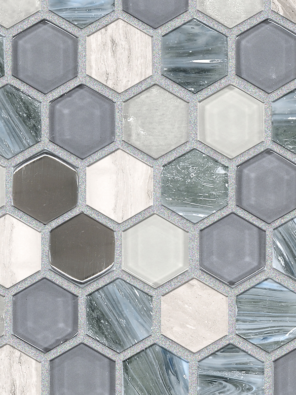 Blue Gray Marble Glass Backsplash Tile BA62026