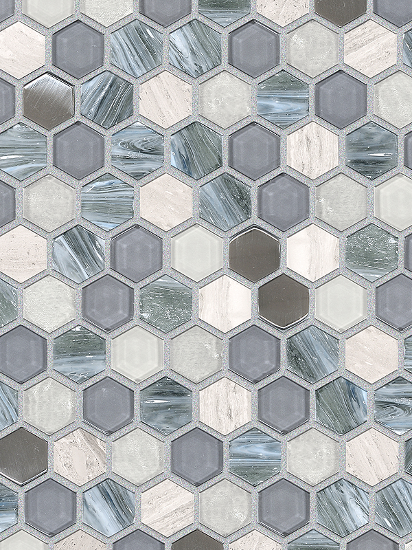 Blue Gray Hexagon Gl Marble Mosaic