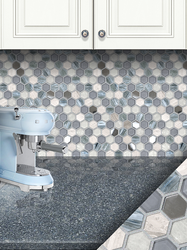 Blue Gray Marble Glass Backsplash Tile White Cabinet Cambria Countertop BA62026