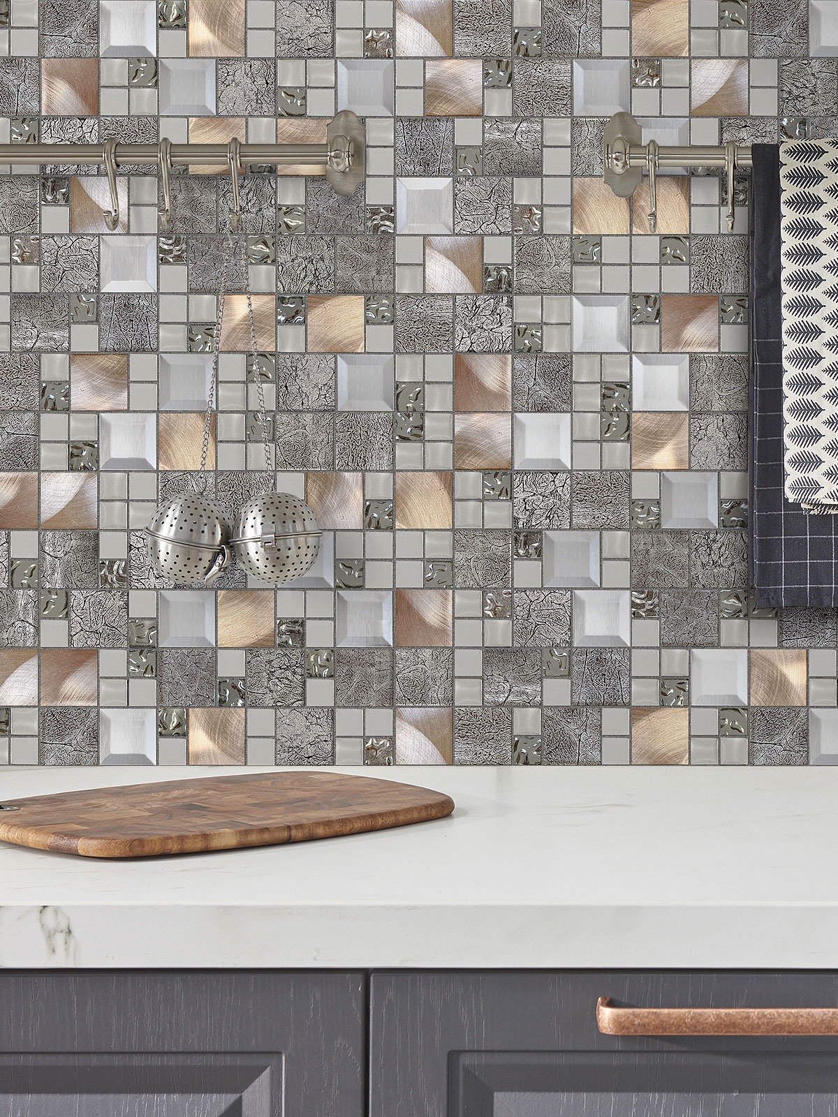 - Glass Metal Gray Copper Mosaic Backsplash Tile Backsplash.com