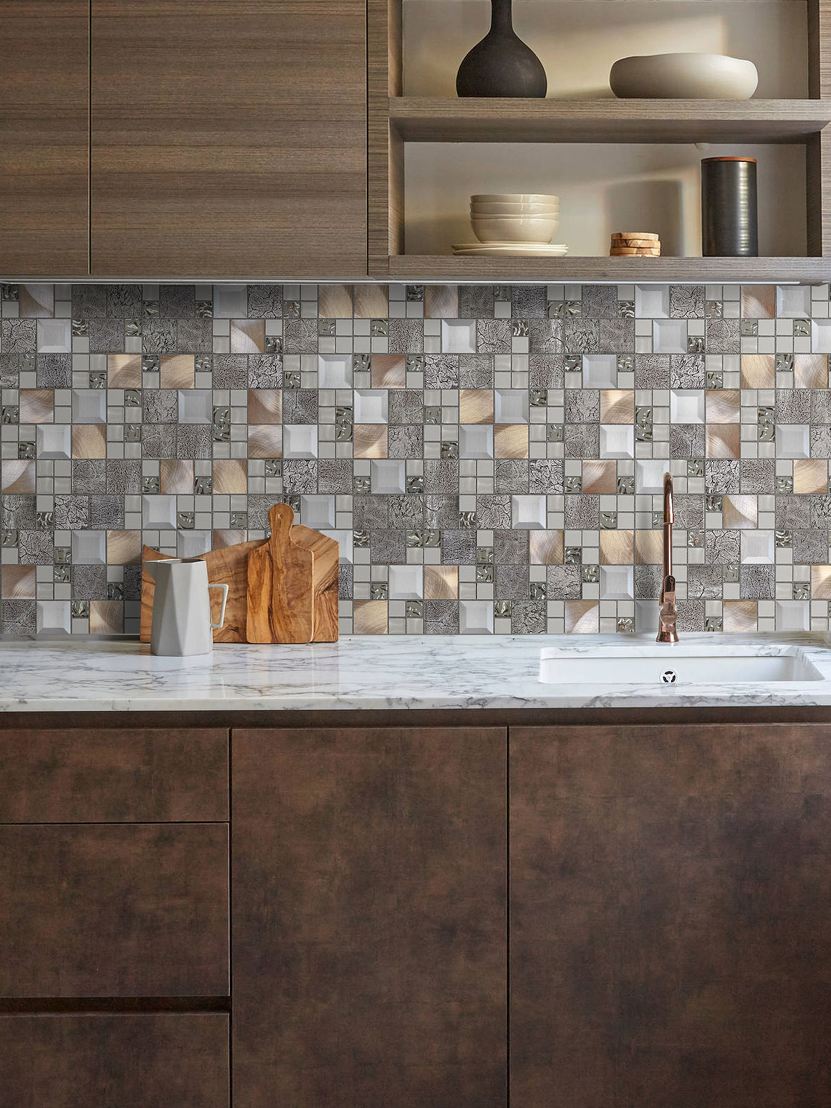 Modern brown cabinets metal glass backsplash tile BA62010