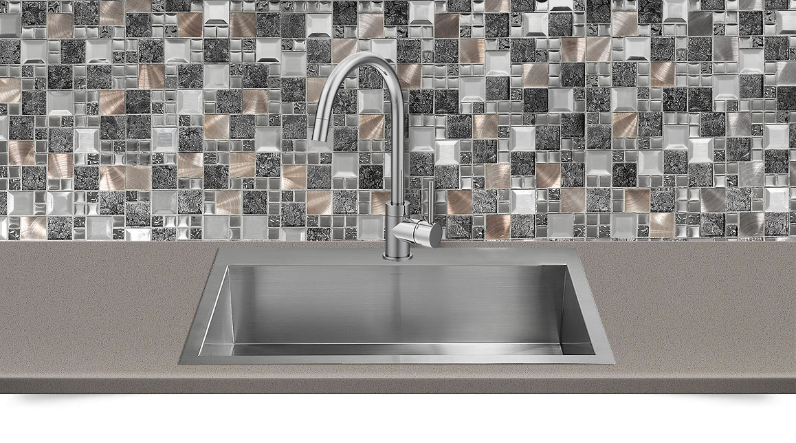Gray Copper Metal Backsplash Tile Brown Quartz Countertop