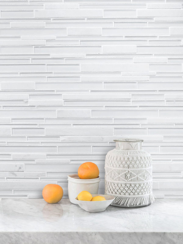 White Glass Marble Linear Backsplash Tile BA1155 1