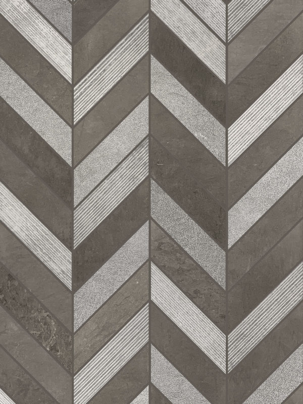 Gray Brown modern limestone chevron mosaic backsplash tile BA631611
