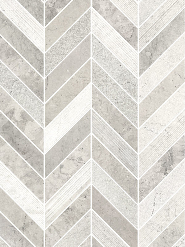 Gray modern limestone chevron mosaic backsplash tile BA631612