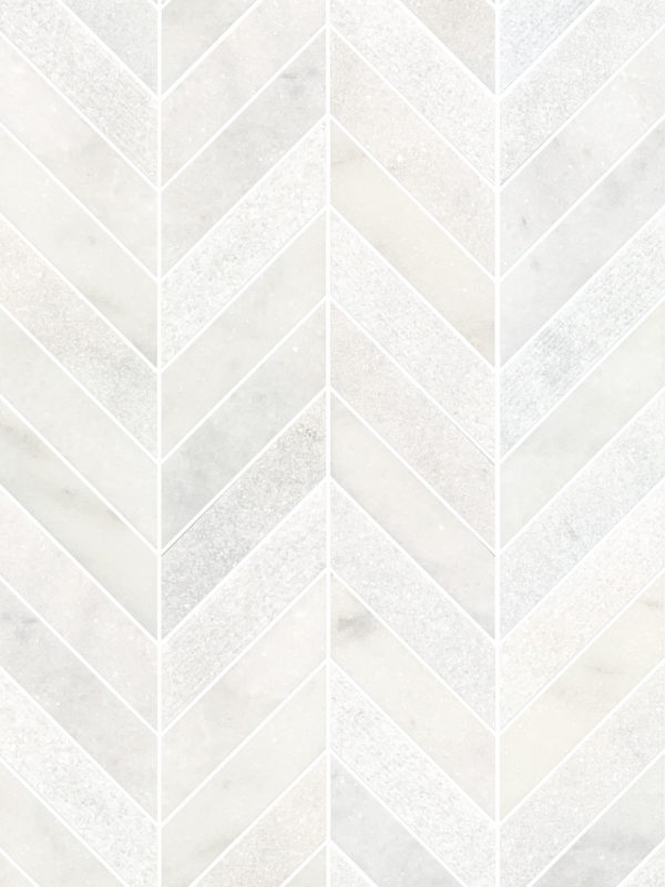 White modern marble chevron mosaic backsplash tile BA631613