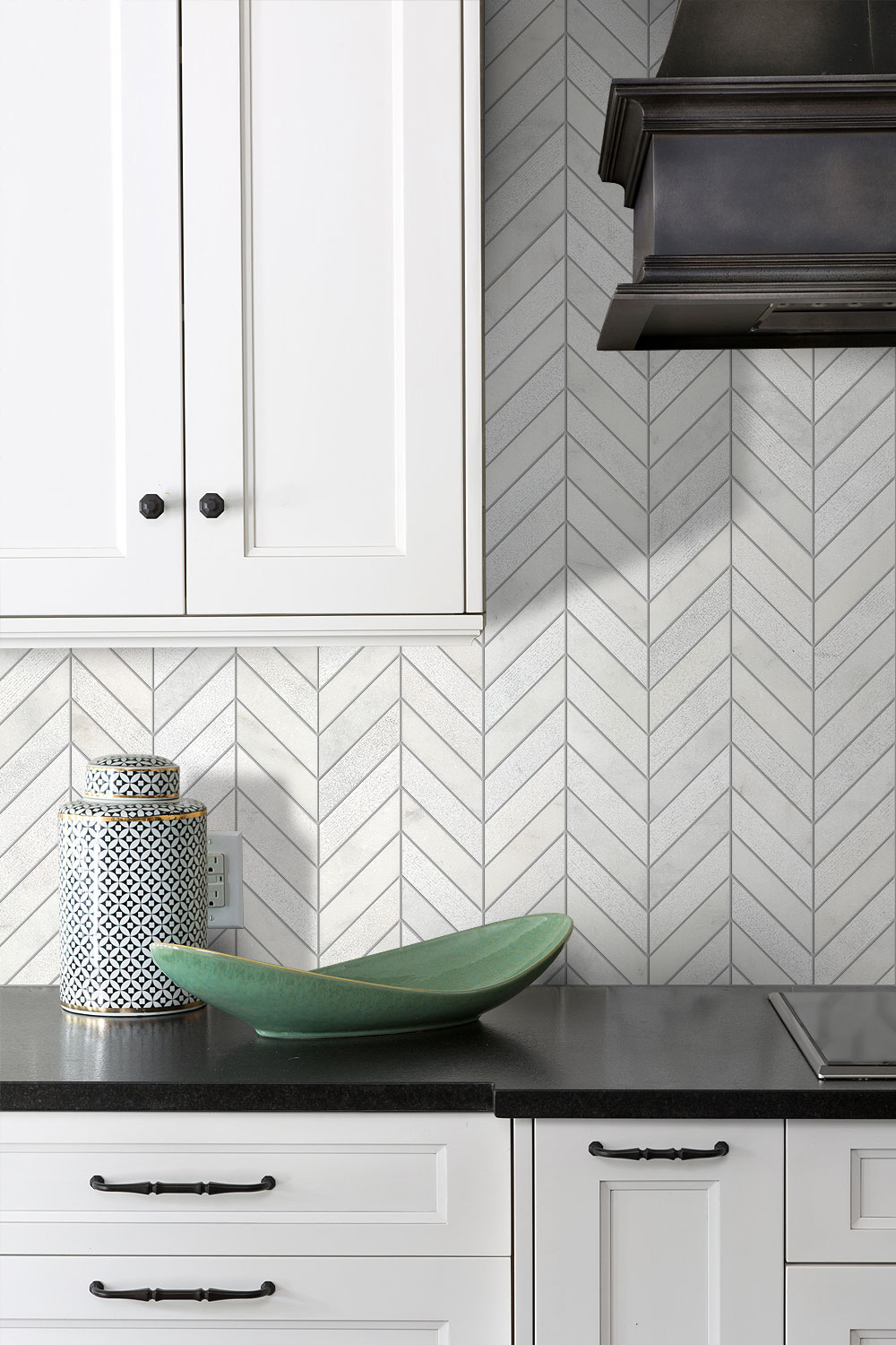 Black Kitchen Countertop White Cabinets And Chevron Backsplash Tile