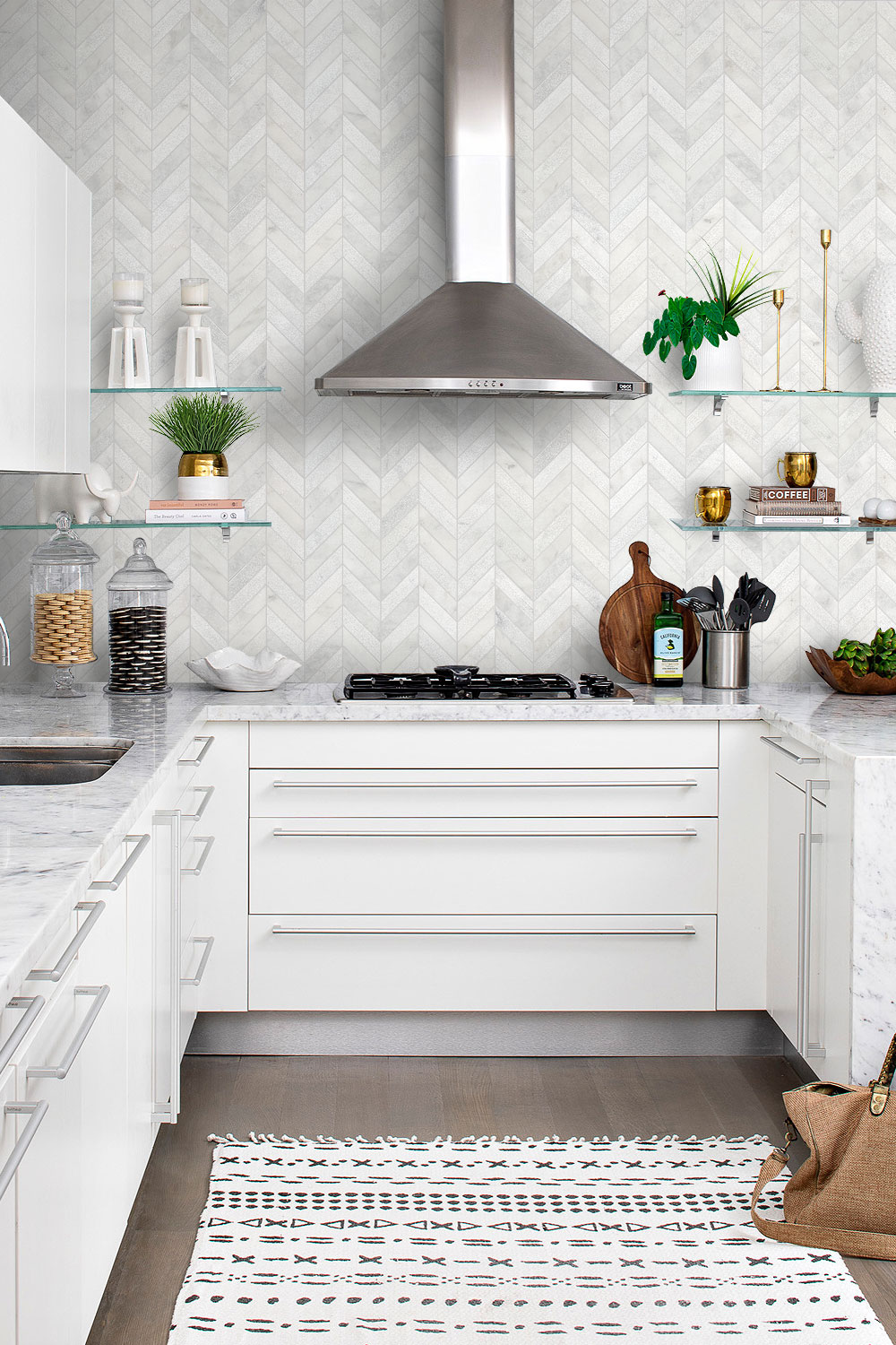 Contemporary Kitchen Marble Countertop Chevron White Backsplash Tile