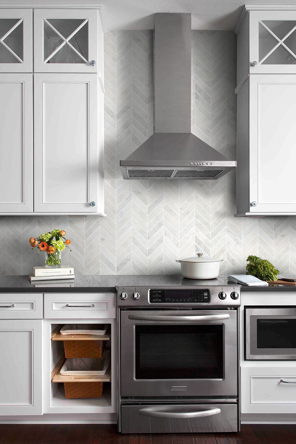 Farmhouse Transitional Kitchen Black Granite Countertop Chevron Backspash Tile