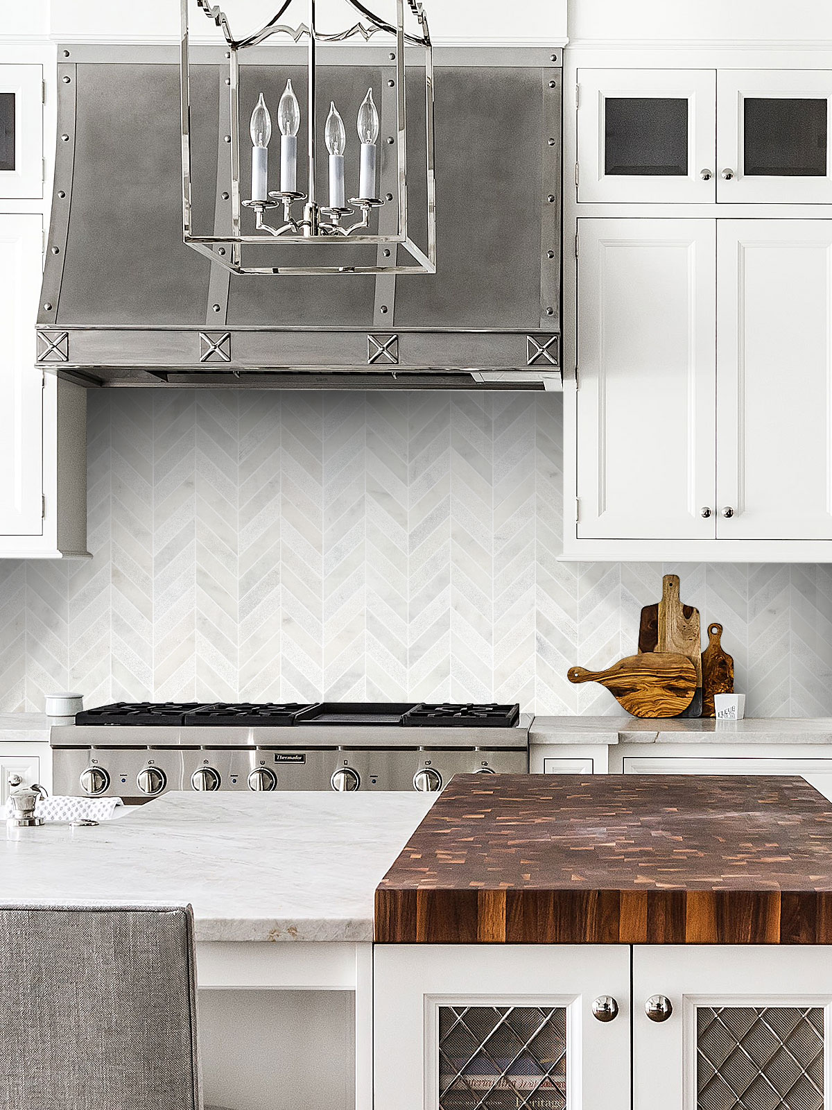 White Cabinet Marble Countertop Chevron Backsplash Tile BA631613