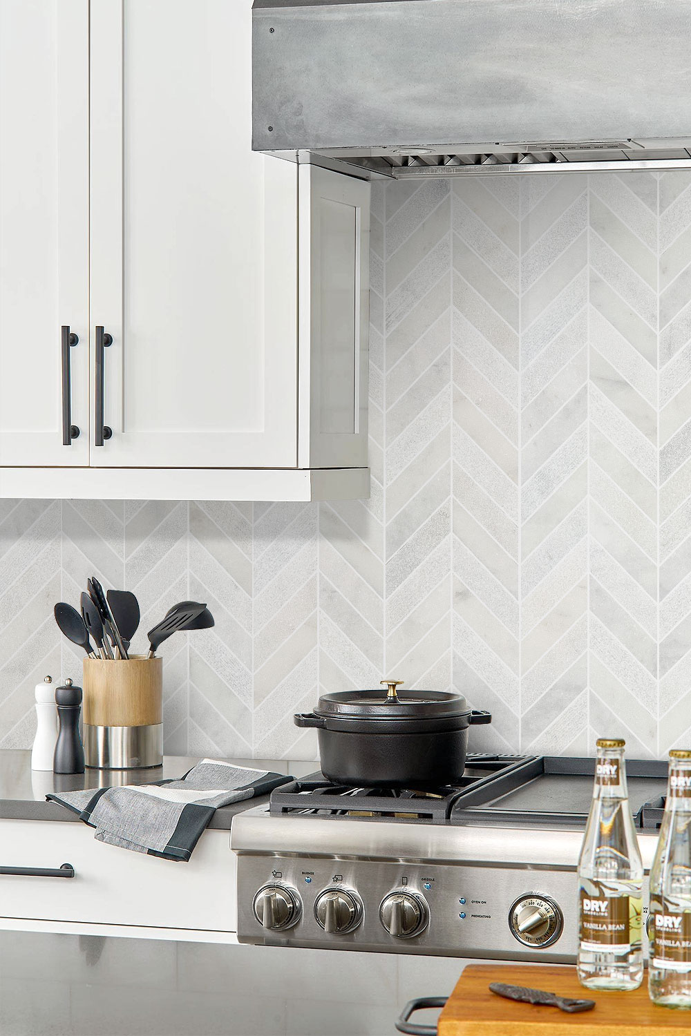 White Kitchen Cabinets Chevron Backsplash Tile